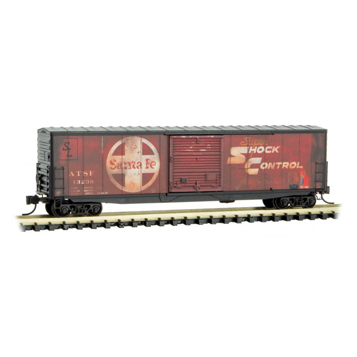 N Scale: 50' Standard Modernized Box Car - Weathered - ATSF