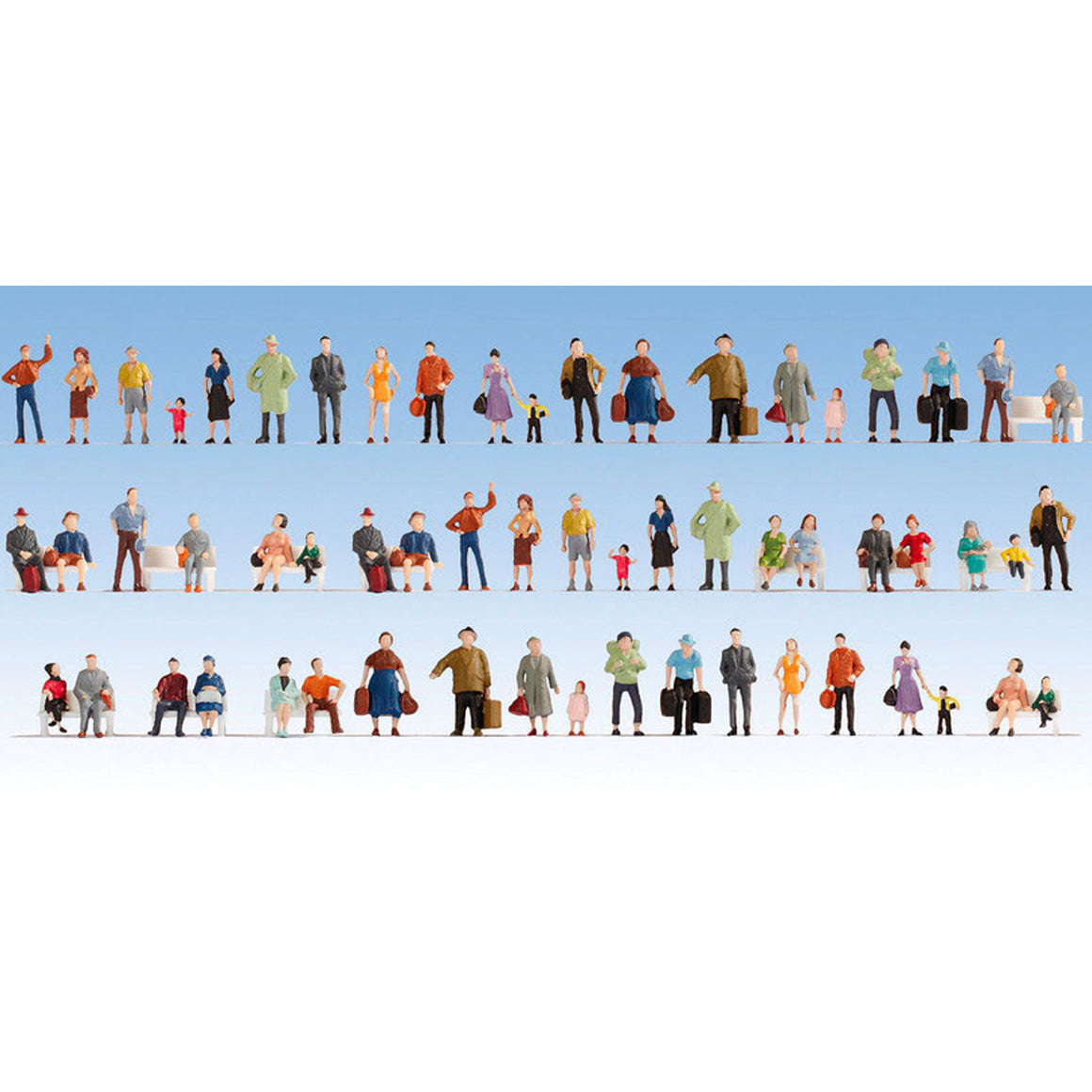 HO Scale: Passengers on Platform - 60 Pack