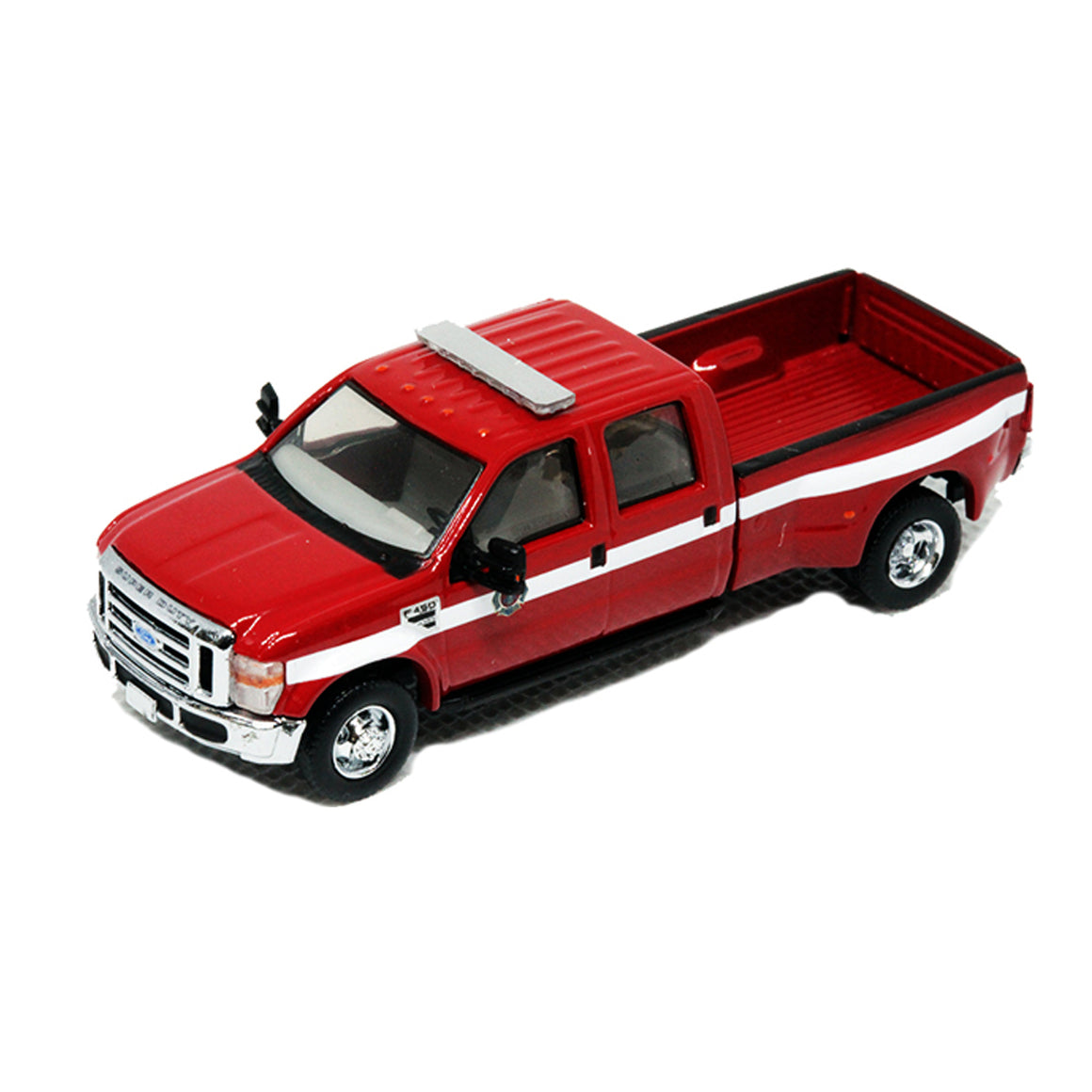 HO Scale: Ford F-450 XLT-Sport Crew Cab - Fire Department - Red w/ White Stripe