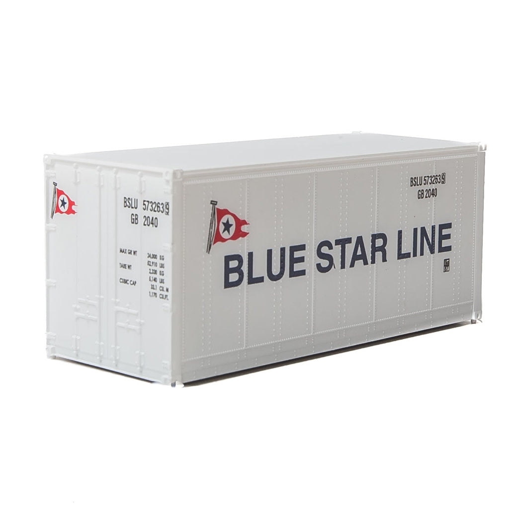HO Scale: 20' Smooth-side Container - Blue Star Line