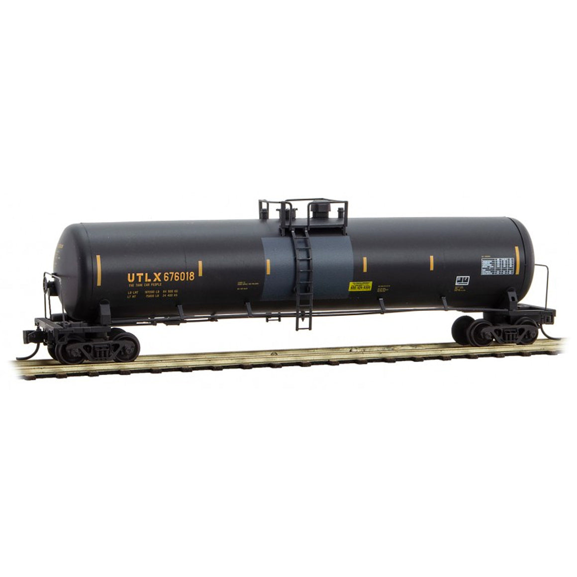 N Scale: 56' General Service Tank Car - UTLX - 'St. Patrick's Day Graffiti'