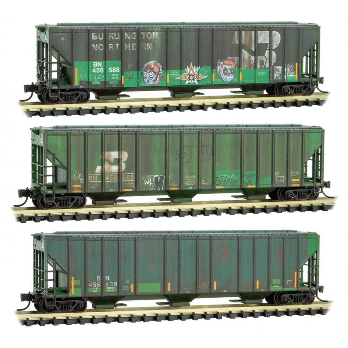 N Scale: 3-Bay Evans Covered Hopper - Burlington Northern - Weathered - 3 Pack