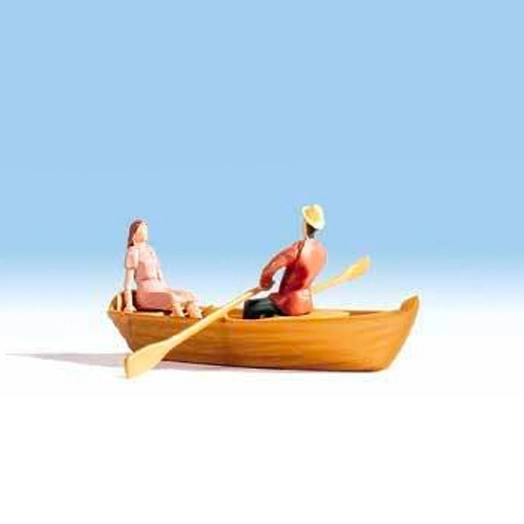 HO Scale: Row Boat and 2 Passengers