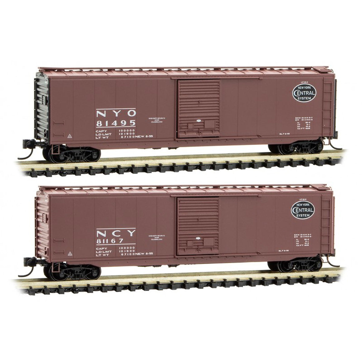 N Scale: 50' Standard Box Car - New York Central 'April Fools Painting Errors' - 2 Pack