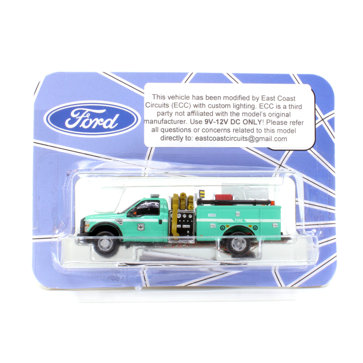 HO Scale: Lighted Ford F-550 - Mini Pumper Fire Truck - U.S. Forest Service