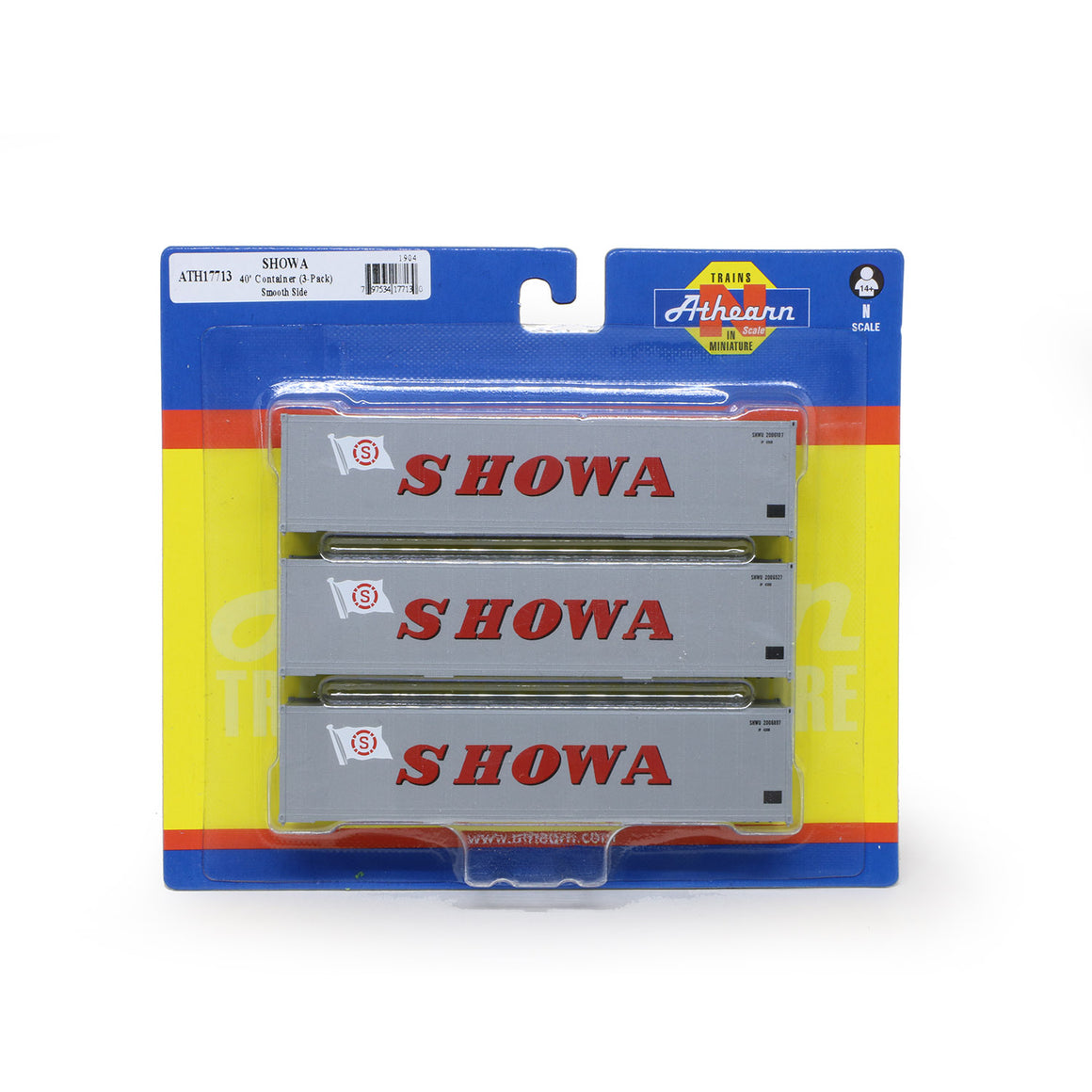 N Scale: 40' Smooth Side Container - SHOWA - 3 Pack