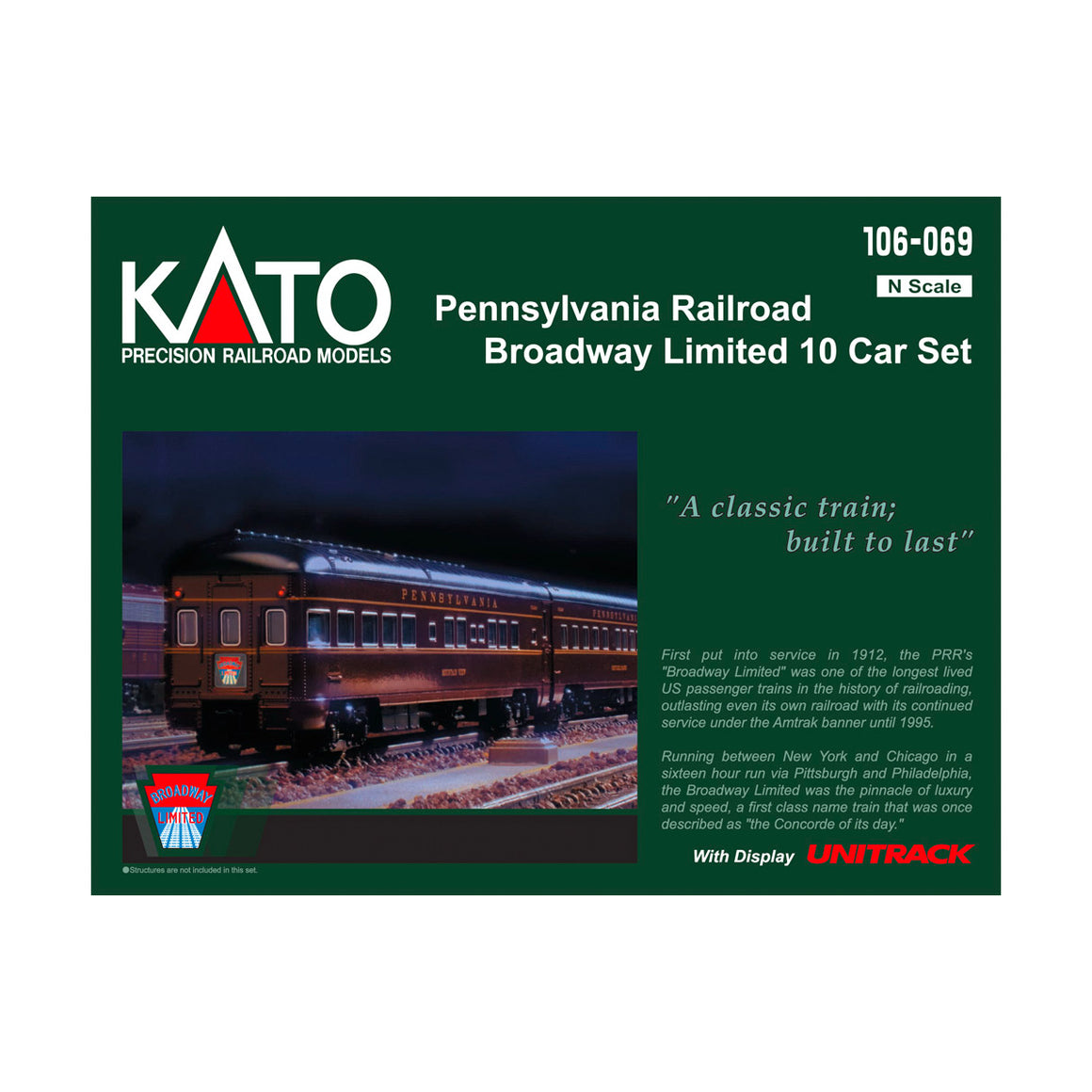 N Scale: Pennsylvania Railroad Broadway Limited Passenger Train - 10 Pack