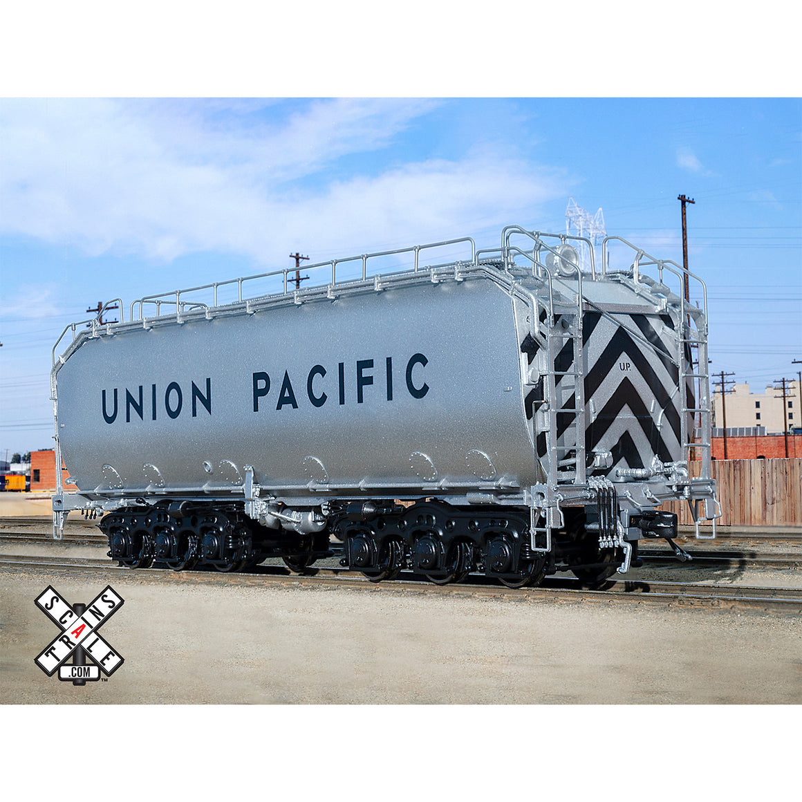 HO Scale: Rivet Counter - Union Pacific Diesel Fuel Tender - Black Trucks