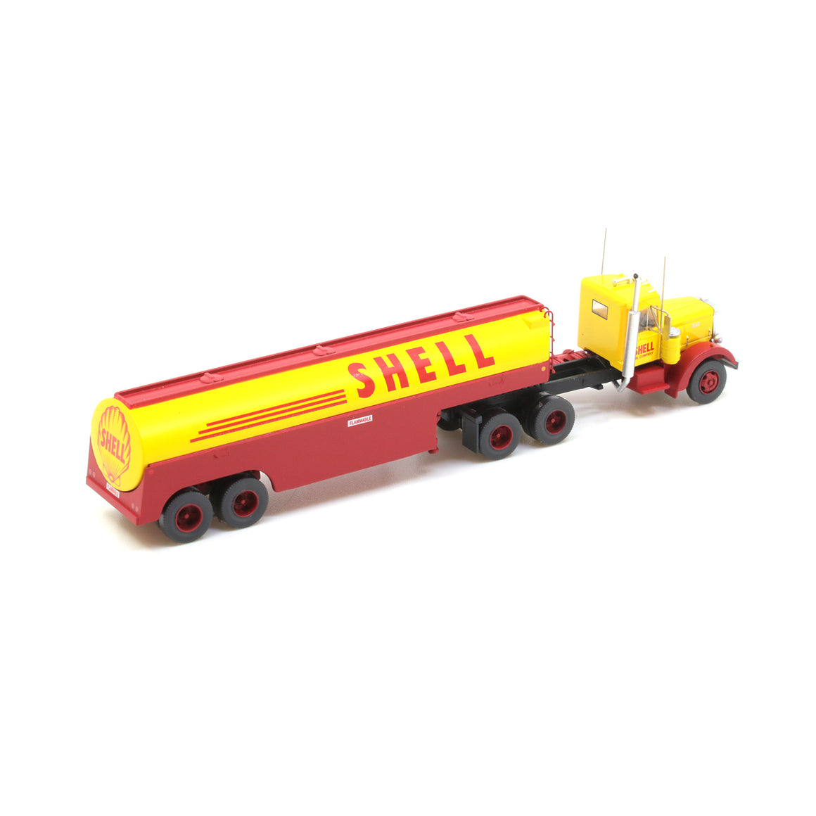 N Scale: Peterbilt 350 with Fuel Tank Trailer - Shell
