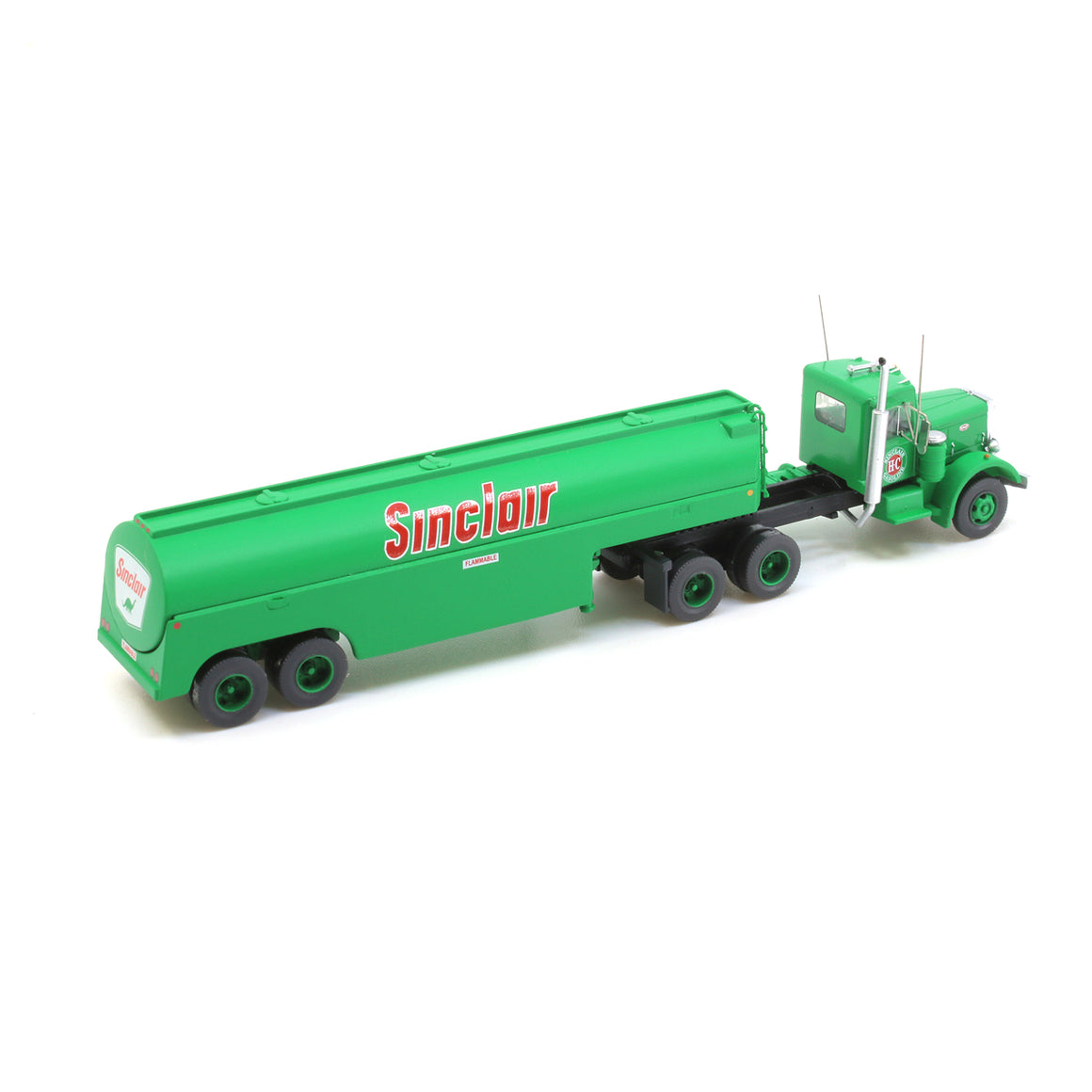 N Scale: Peterbilt 351 with Fuel Tank Trailer - Sinclair