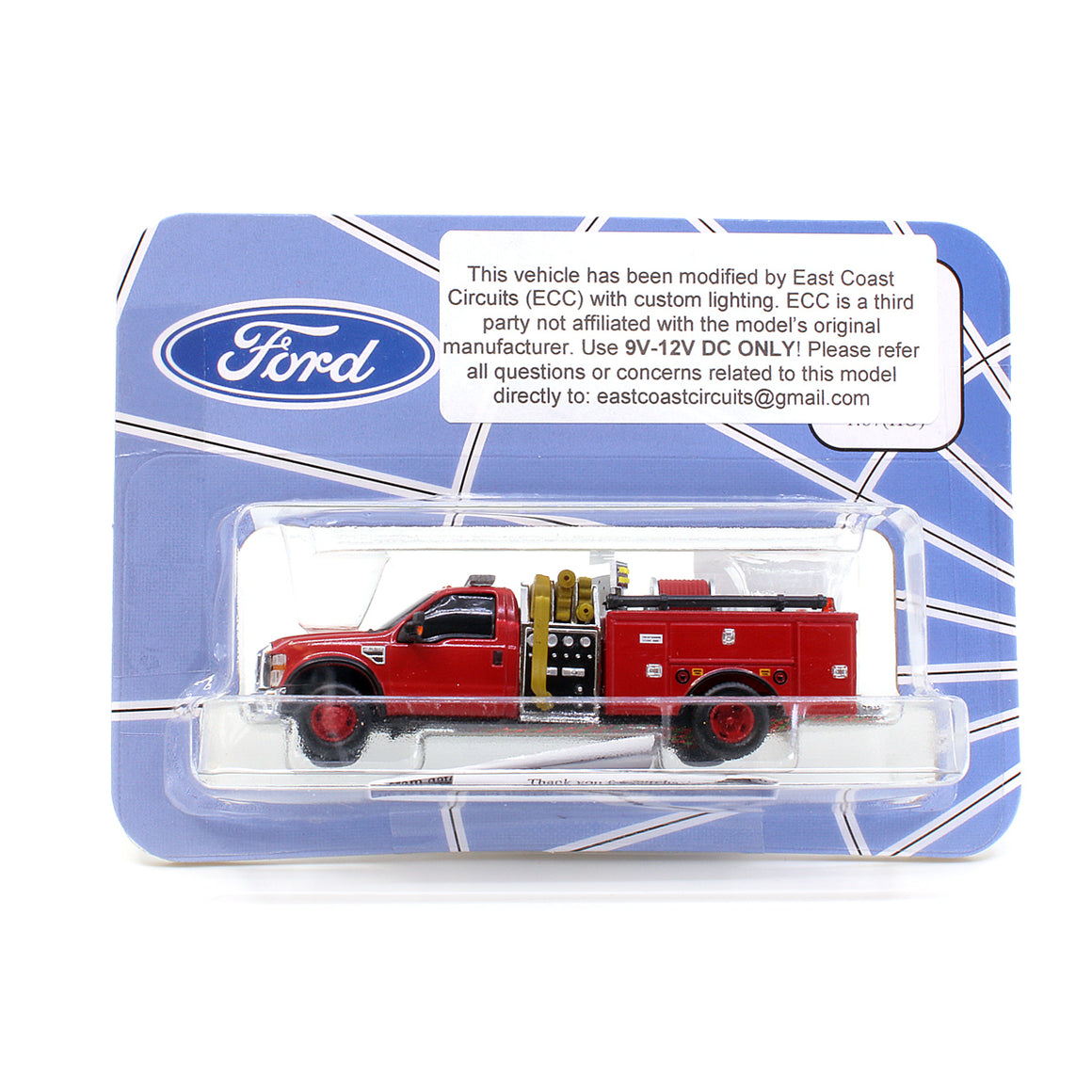 HO Scale: Lighted Ford F-550 - Mini Pumper Fire Truck - Red