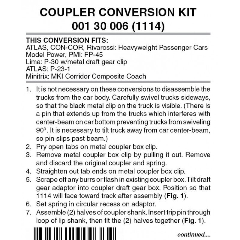 N Scale: Coupler Conversion Kit - Heavyweight Passenger Cars and FP45 Locomotive