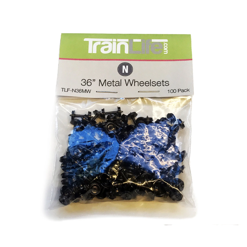 N Scale: TrainLife Bulk Metal Wheel Sets - 36""