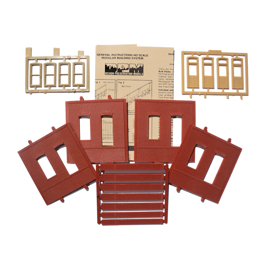HO Scale: Modular Structures - Single Story Rectangular Window/Door Panels - Kit