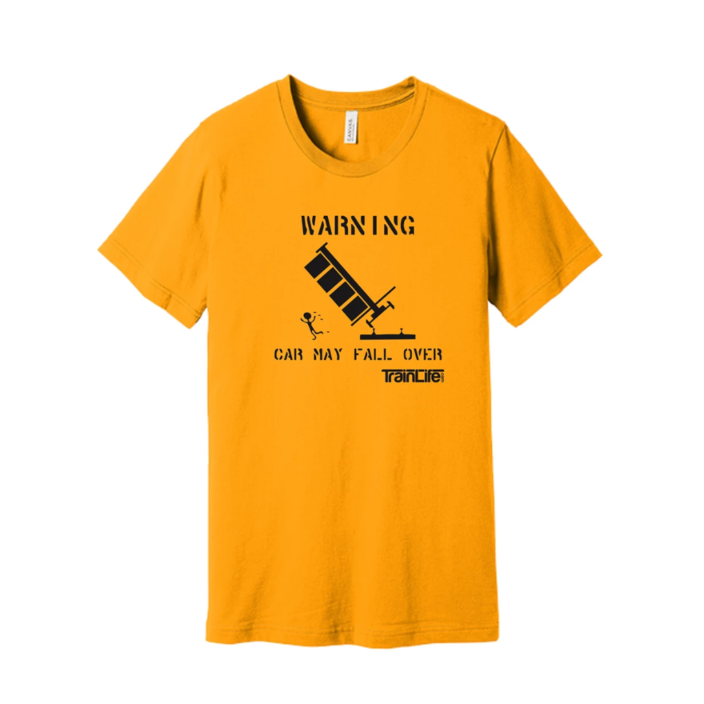 Stencil Tees: Car May Fall Over - Black on Golden Yellow