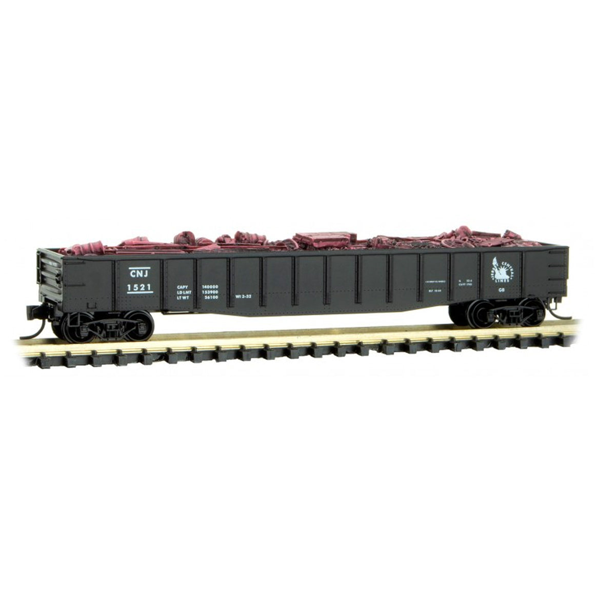 N Scale: 50' Gondola w/ Load - Central New Jersey