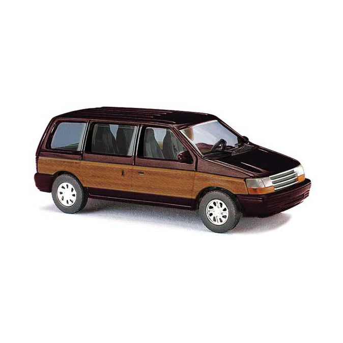 HO Scale: 1990 Plymouth Voyager Minivan - Brown w/ Wood Panels