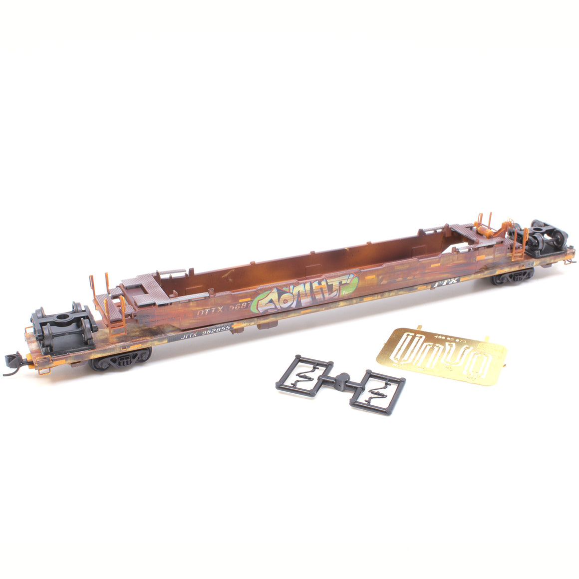N Scale: 89' TOFC Flat Car - TTX 'Wreck Recovery - Weathered'