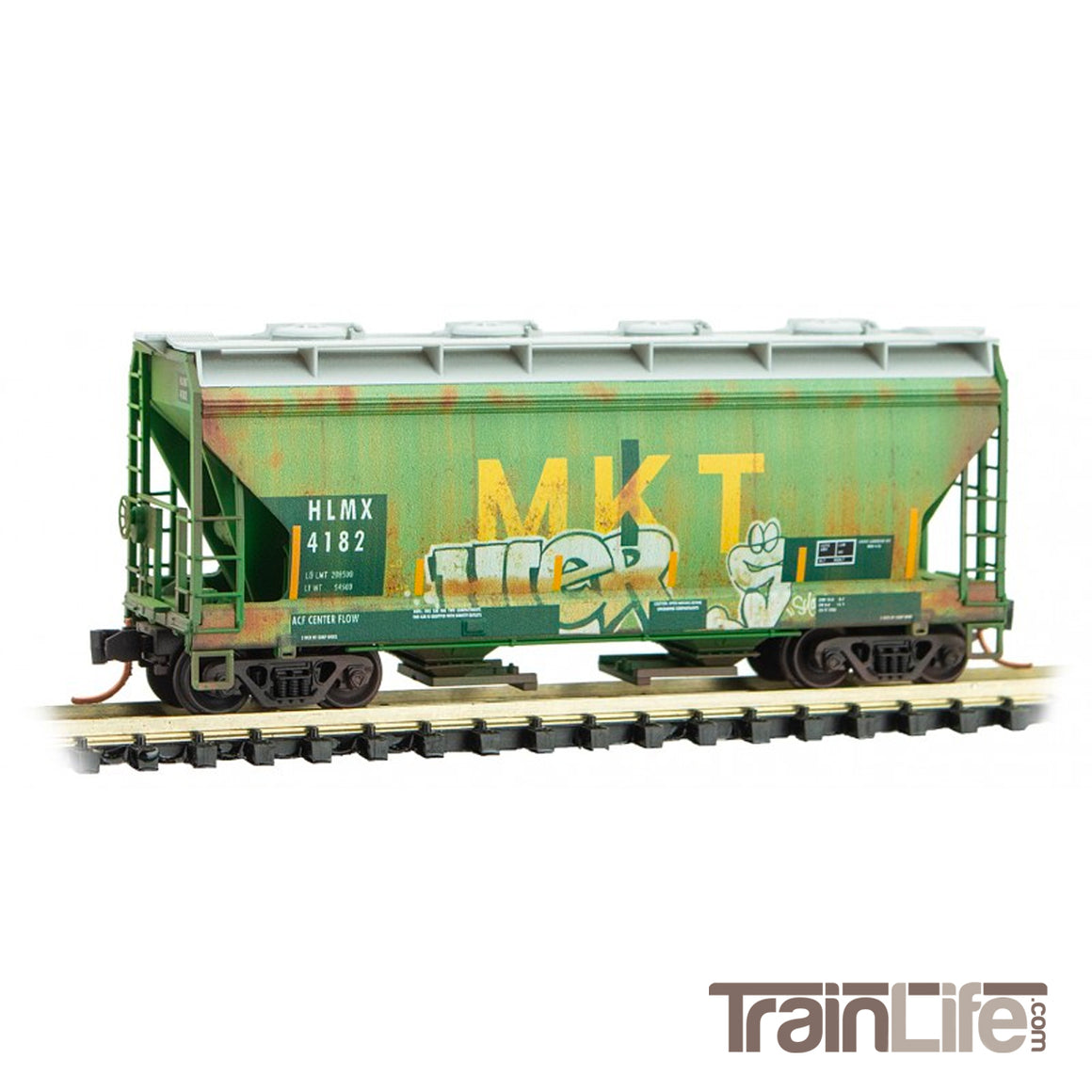 N Scale: 2-Bay Covered Hopper - HLMX 'Ex-MKT' Graffiti