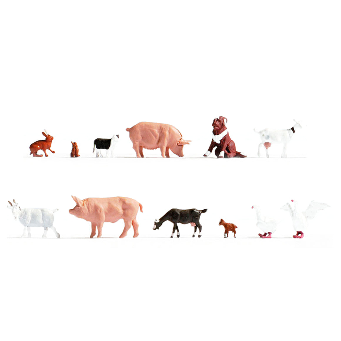 HO Scale: Farmhouse Animals - 12 Pack