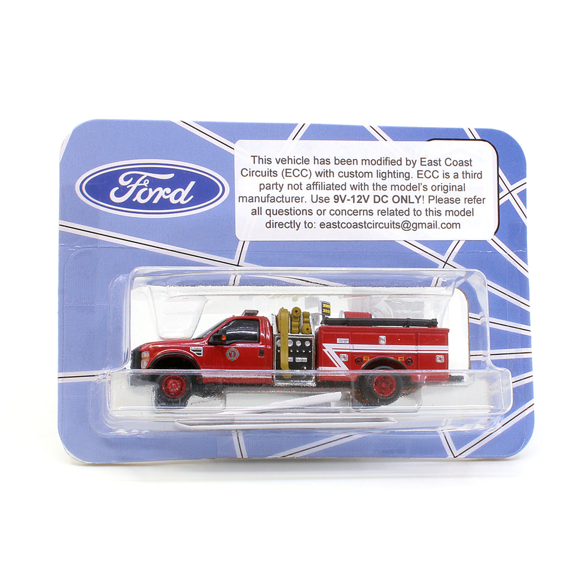 HO Scale: Lighted Ford F-550 - Mini Pumper Fire Truck - Red w/ White Z Stripe