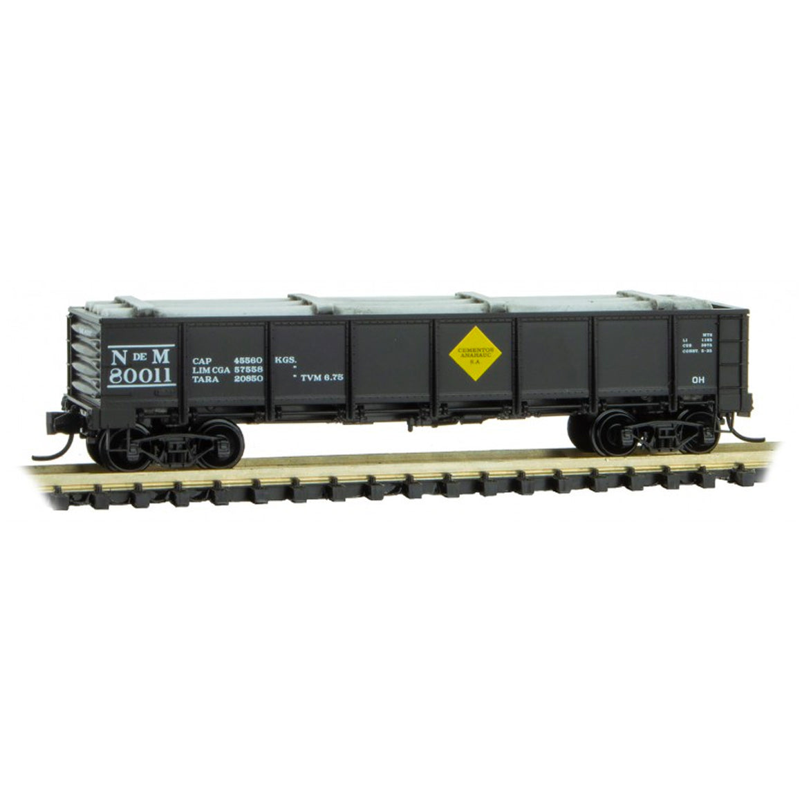 N Scale: 40' Drop Bottom Gondola w/ Load - NdeM