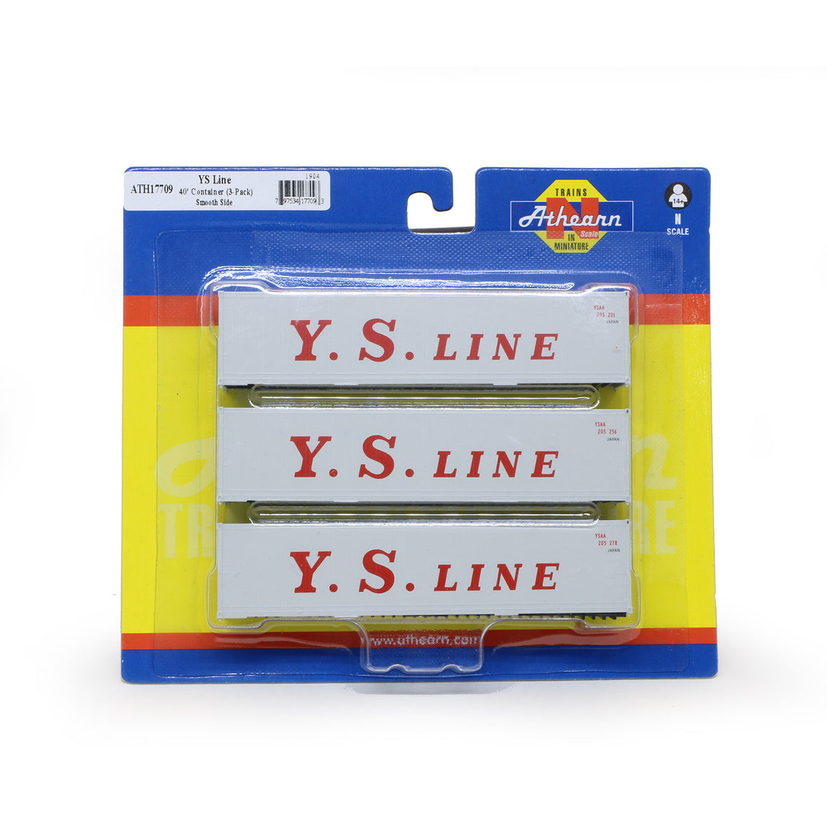 N Scale: 40' Smooth Side Container - Y.S. Line - 3 Pack