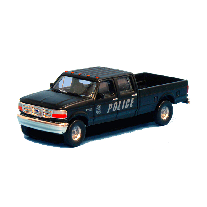 N Scale: 1992 Ford F-250 Series Super Duty 4X4 Crew Cab Pickup - 2-Pack - Police