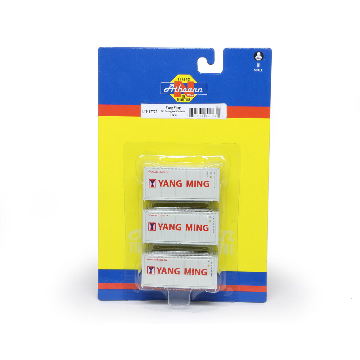 N Scale: 20' Corrugated Container - Yang Ming - 3 Pack