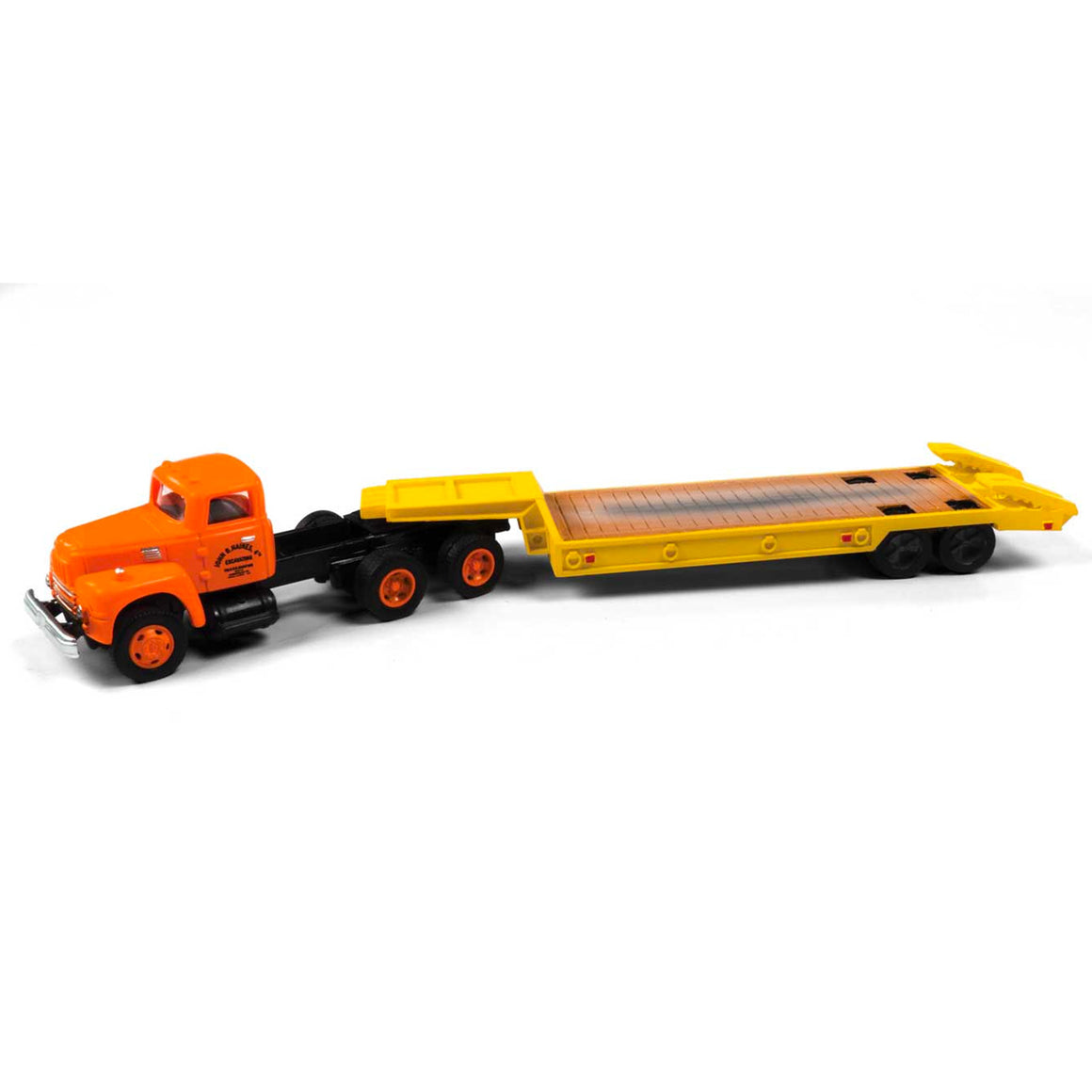 HO Scale: 1954 International-Harvester R-190 w/ Lowboy Trailer - Haines Excavating