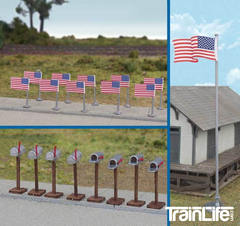 HO Scale: American Flags(Post-1959) and Mailboxes - 11 Flags, 8 Mailboxes