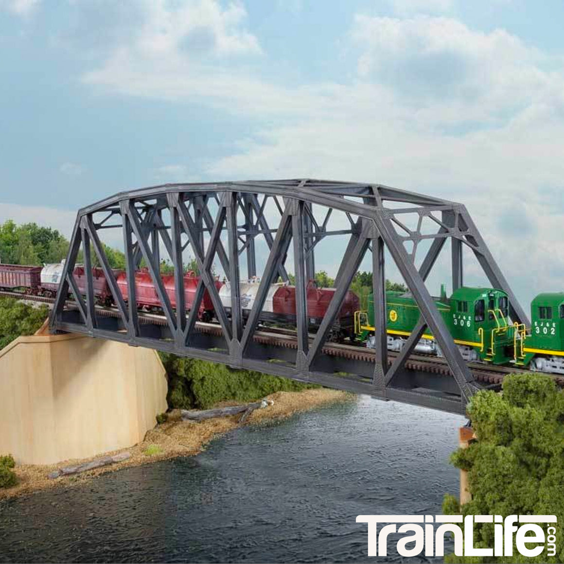 N Scale: Arched Pratt Truss Railroad Bridge - Single-Track