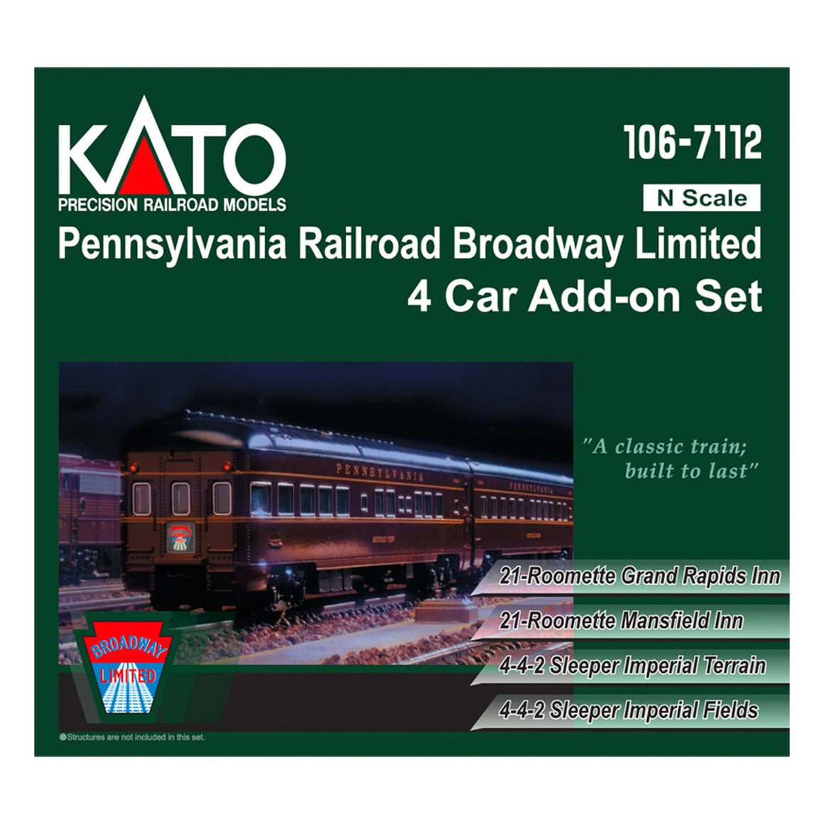 N Scale: Pennsylvania Railroad Broadway Limited Passenger Train - 4 Pack