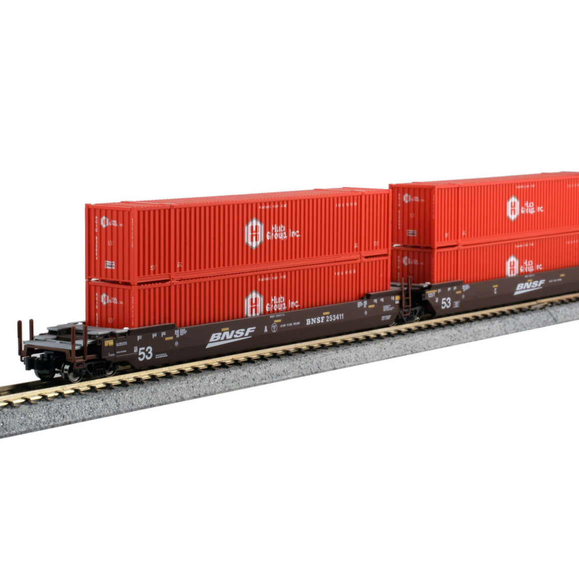 N Scale: Gunderson Maxi-IV Articulated Well Car w/ Containers - BNSF 'Swoosh'