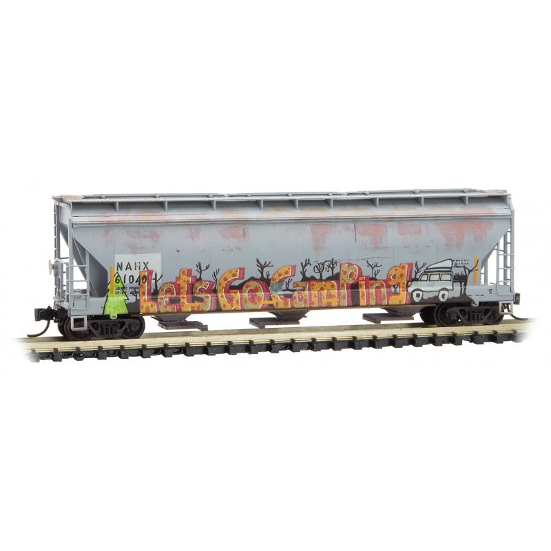 N Scale: 3 Bay Covered Hopper - NAHX 'Let's Go Camping Graffiti'