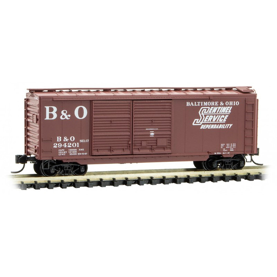 N Scale: 40' Double Door Boxcar - Baltimore & Ohio