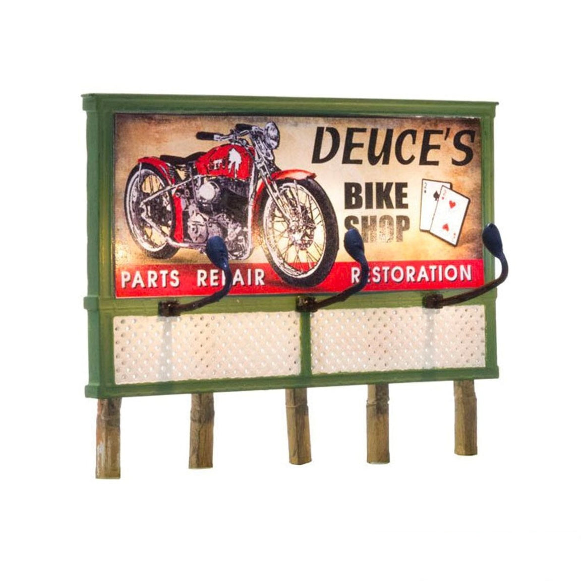 HO Scale: Just Plug® Lighted Billboard - Deuce's Bike Shop