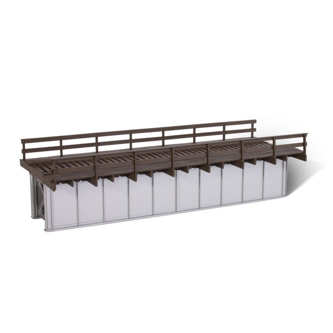 HO Scale: 50' Deck Plate Girder Bridge - Wood Handrails - Black, Silver, Green