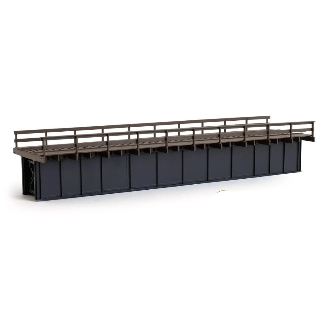 HO Scale: 72' Deck Plate Girder Bridge - Wood Handrails - Black, Silver, Green