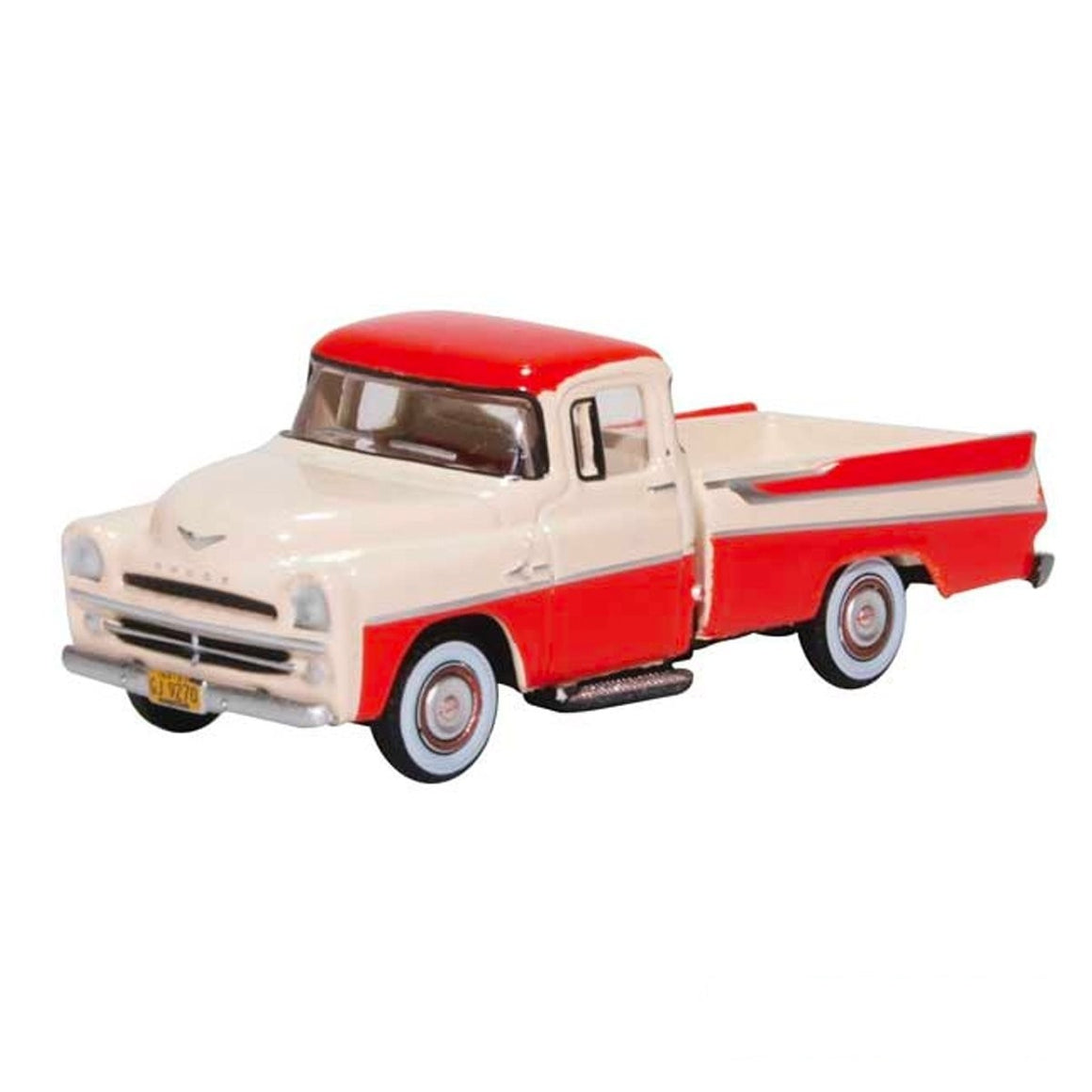 HO Scale: 1957 Dodge D100 Sweptside Pickup Truck - Coral Red and Glacier White