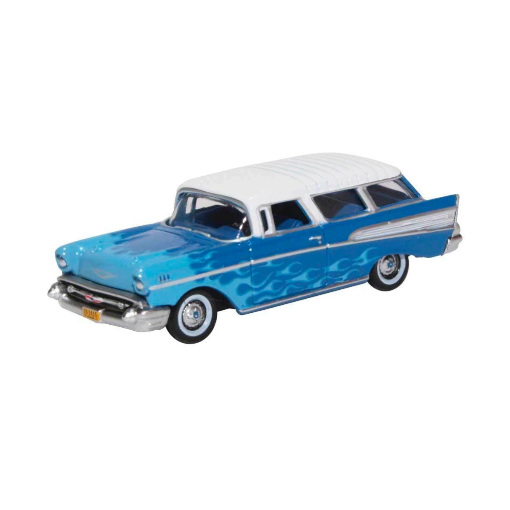 HO Scale: 1957 Chevrolet Nomad - Blue w/ Flames