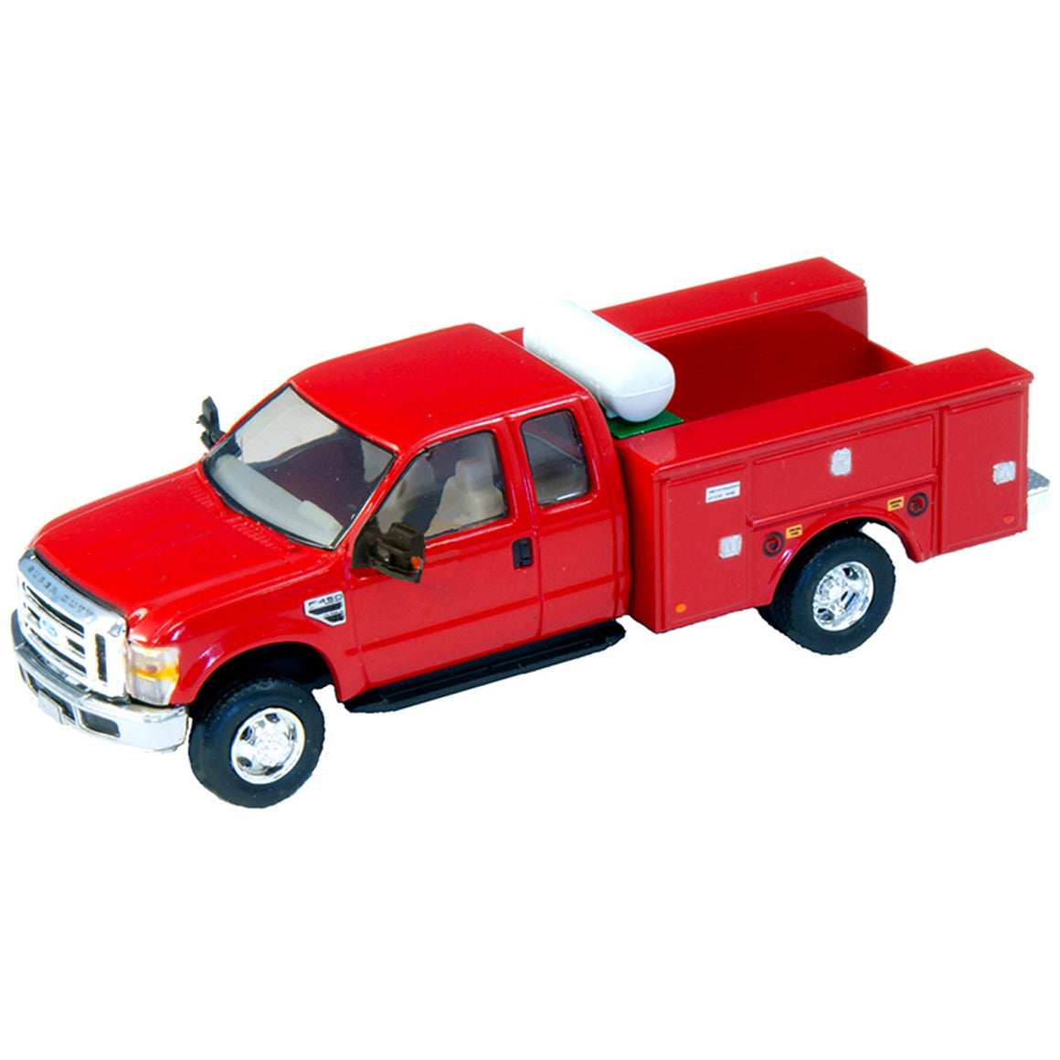 HO Scale: Lighted Ford F-450 Super Cab Fleet Service Truck - Red