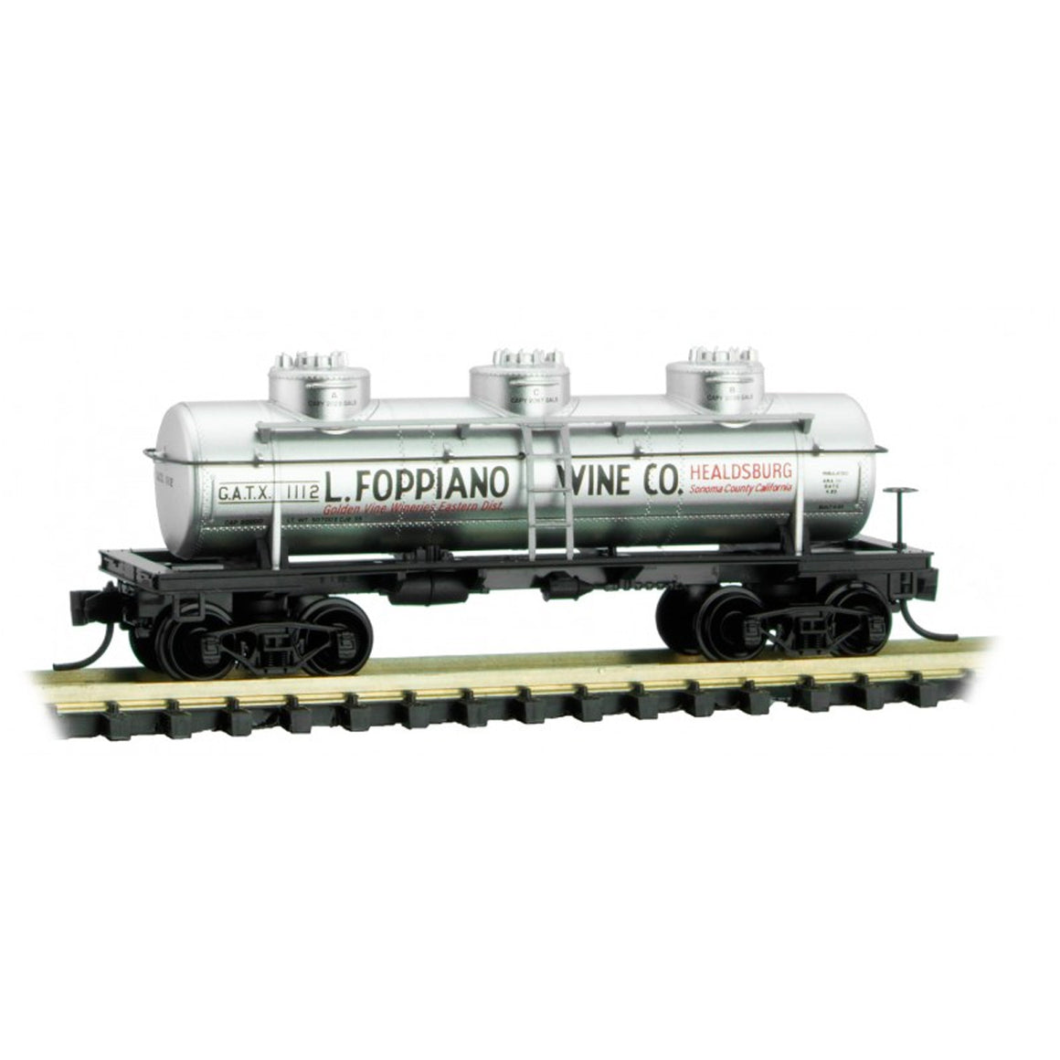N Scale: 3-Dome Tank Car - L. Foppiano Wine Co.