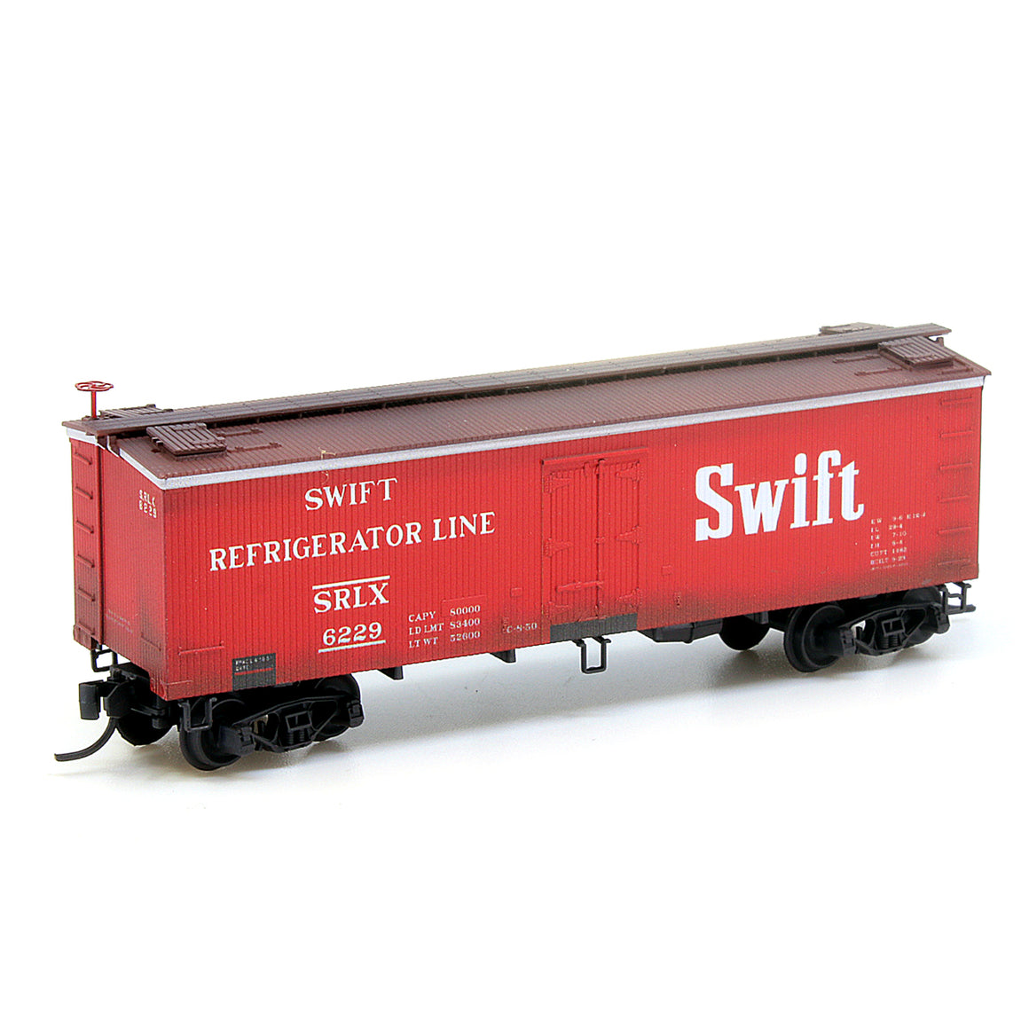 N Scale: 36' Wood Reefers - Swift - Weathered - 16-pack
