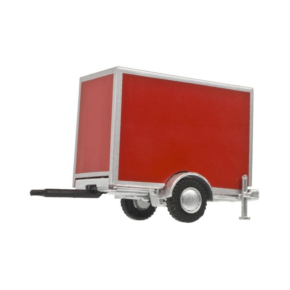 HO Scale: Standard Single Axle Box Trailer - Red