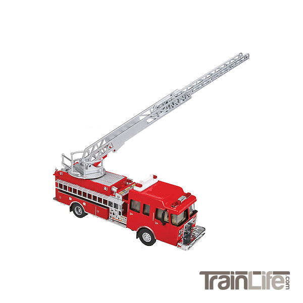 HO Scale: Lighted Heavy-Duty Fire Ladder Truck