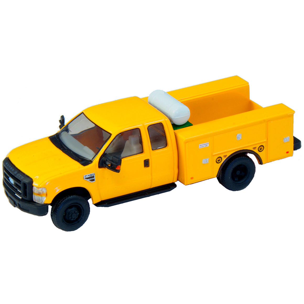 HO Scale: Lighted Ford F-450 Super Cab Fleet Service Truck - Yellow