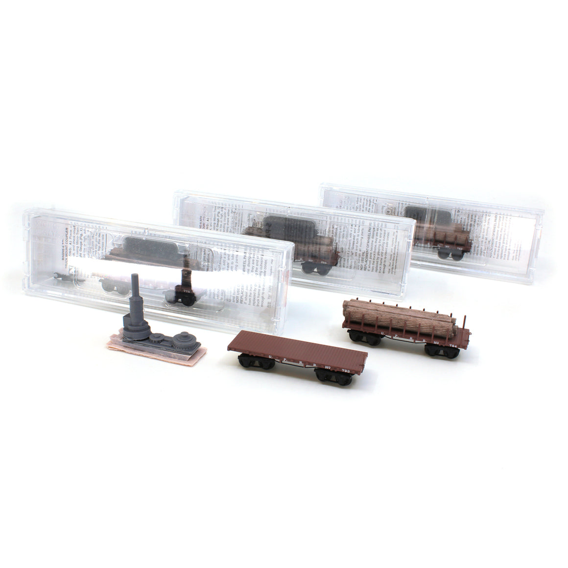 N Scale: 1860s Log Cars - Union Pacific - 5-Pack