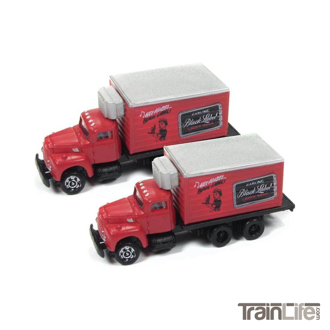 N Scale: IH R-190 Box Delivery Truck - Carling Black Label Beer - 2 Pack