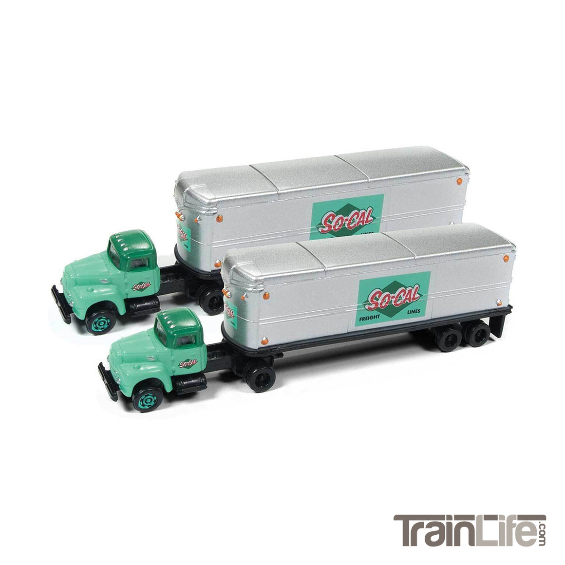 N Scale: IH R-190 Tractor & Trailer Set - So-Cal Frieght Lines - 2 Pack